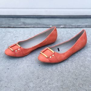 Banana Republic Orange Gold Buckle Ballet Flats